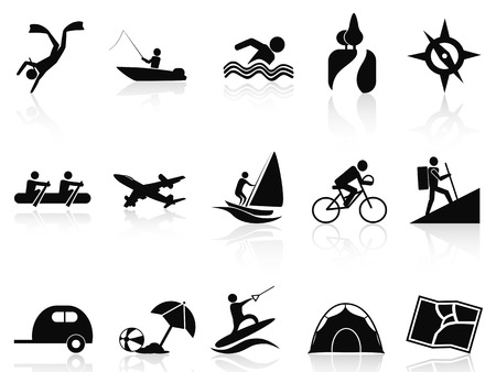 isolated summer activities icons set from white background