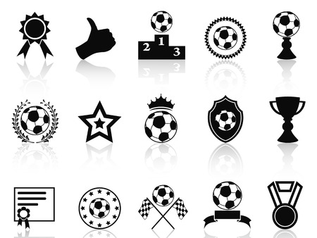 isolated black soccer award icons set from white background Vector