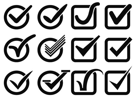 isolated black check mark button icons on white background