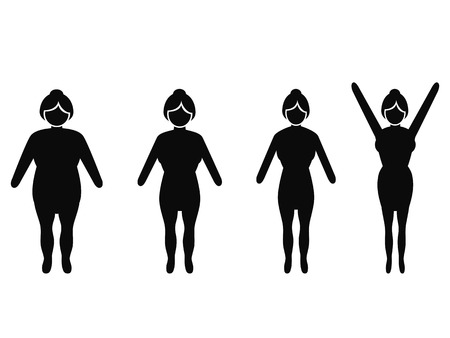 isolated woman from fat to thin, weight loss silhouettes on white background Illustration