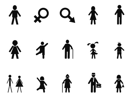 nude black woman: isolated black male female stick figure icons set from white background