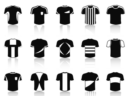 isolated black t-shirt soccer clothing icons set from white background