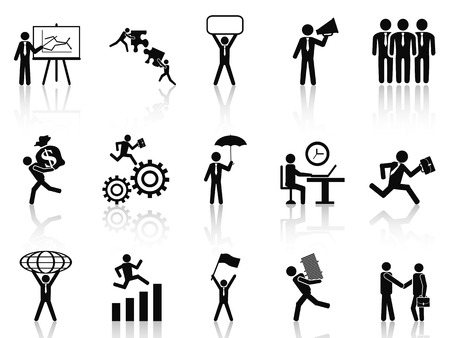 men at work sign: isolated black working businessman icons set from white background