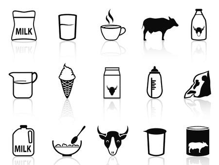 caja de leche: iconos de productos aislados de leche establecidos de fondo blanco