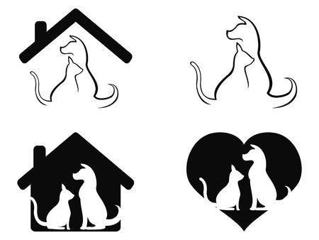 흰색 배경에서 격리 된 강아지와 고양이 애완 동물을 돌보는 기호