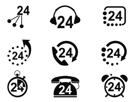 isolated 24-hrs service icons from white background Stock Vector - 29993104