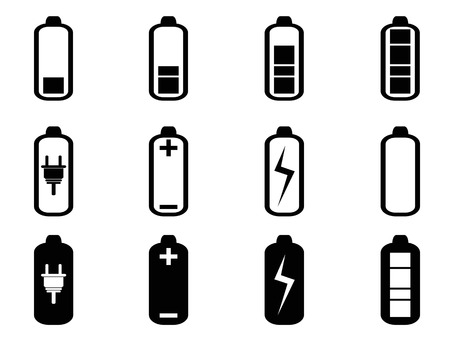 isolated black battery icons set from white background Vector