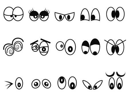 isolated cartoon Expressional eyes icon set from white background Vector