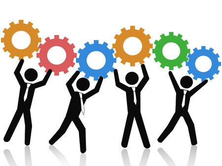 isolated business teams working up with color gears on white background Vector