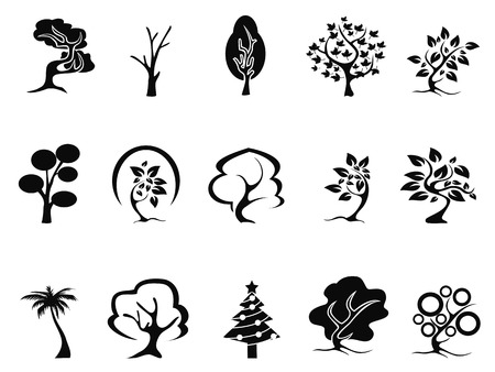 dead wood: isolated black tree icons set from white background Illustration