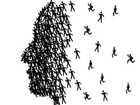 man face profile: la cara del hombre forma del perfil formado con figuras de palo negro