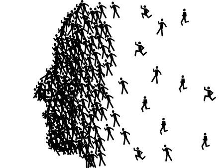the man face profile shape formed with black stick figures