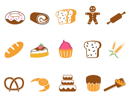 isolated color bakery icons set on white background Vector