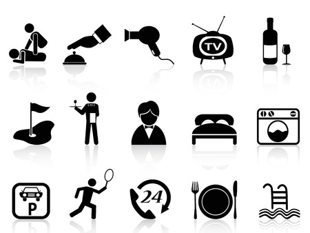 isolated black hotel service icons set from white background Vector
