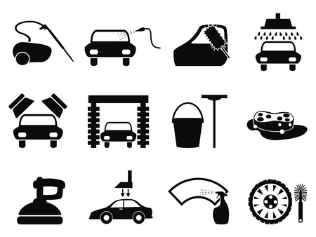 lavar: aislados iconos lavado de coche negro establecidos de fondo blanco Vectores
