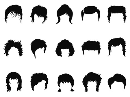 aislado colección de los hombres y mujeres de peinado del cabello de fondo blanco Ilustración de vector
