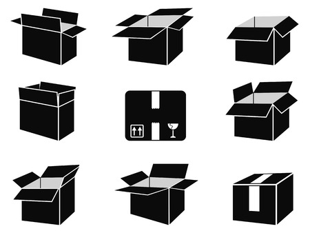 isolated black shipping box icons from white background Vector