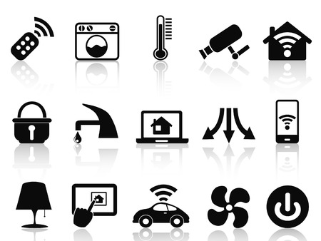 isolated smart house icons set from white background Vector