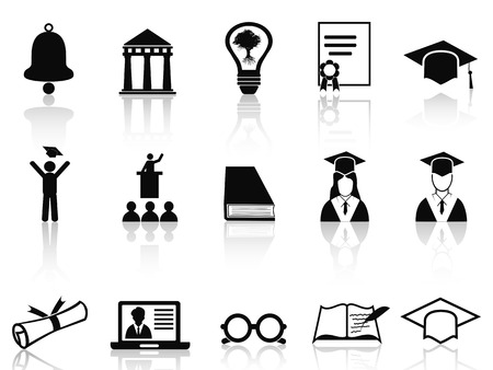 isolated black college icons set from white background