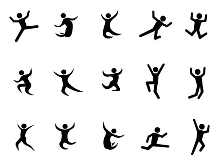 jumping: isolated abstract jumping black figures from white background