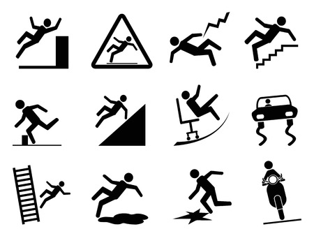 men at work sign: isolated black slippery icons from white background Illustration