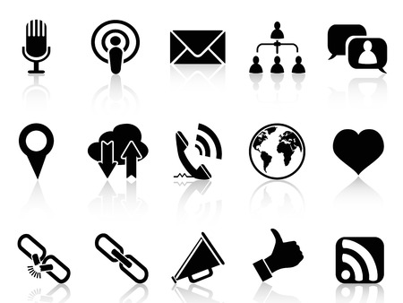 favorite: isolated black social communication icons set from white background Illustration