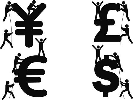yen sign: isolated stick figures Climbing Money sign on white background