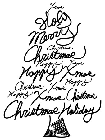isolated doodle Christmas tree word clouds for Christmas greeting card design Vector