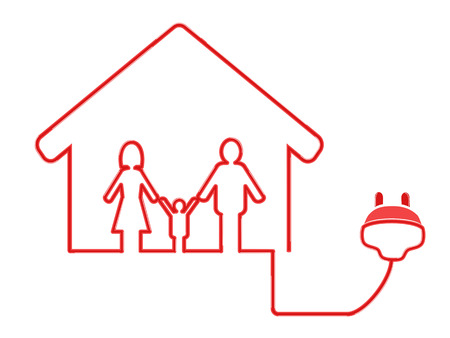 the symbol of family house with electrical plug on white background Vector