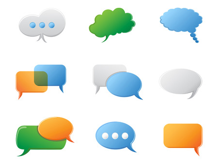 isolated Chat Bubbles icon set on white background Vector