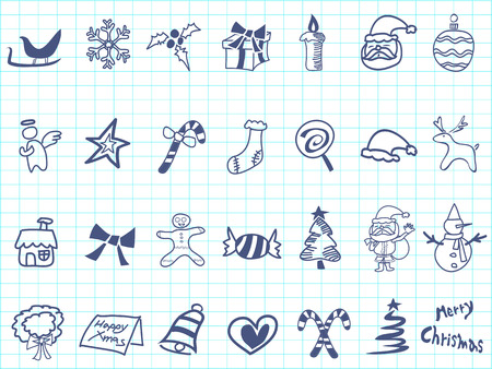 isolated doodle Christmas icon set on lined paper Vector
