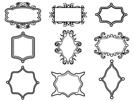 gothic design: isolated ornamental vintage frame set on white background