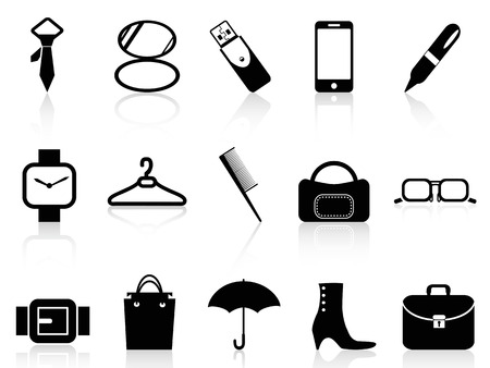 pocket book: isolated black accessories icons set from white background Illustration