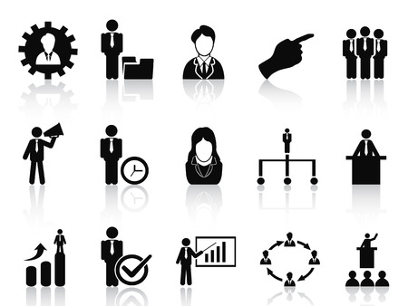 isolated black business and management icons set from white background Vector