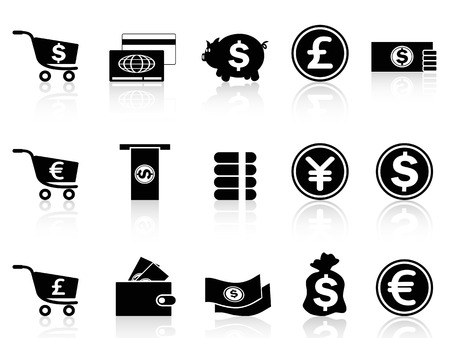 isolated black Currency icons set from white background Vector