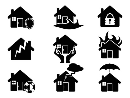 isolated black Property insurance icons set from white background Illustration