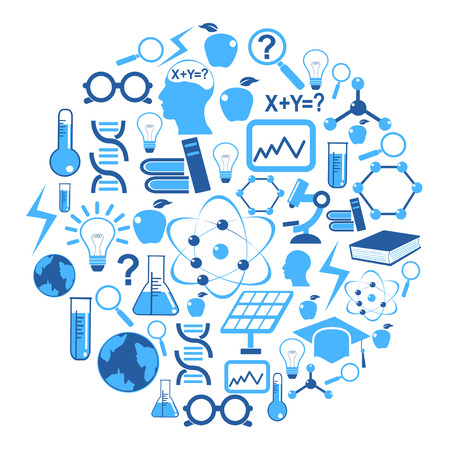 the collection of science icons in circle,blue color series Vector