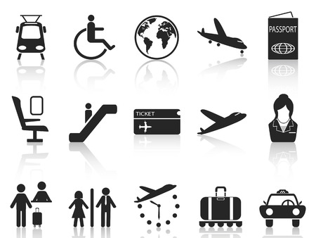 boarding card: isolated Airport and travel icons set from white background