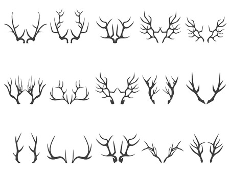 isolated deer horns silhouettes on white background