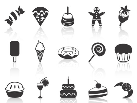 isolated black dessert icons set from white background  Vector