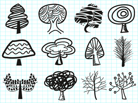 withered: isolated doodle tree icons on lined paper