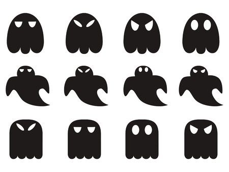ghost cartoon: isolated black ghost icons set from white background