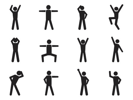 body language: isolated stick figure posture icons from white background