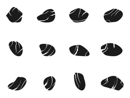 isolated black stone icons set from white background