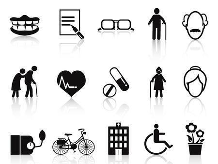marcheur: icônes âgées et seniors isolés fixés sur fond blanc