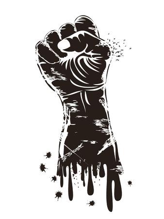 geïsoleerde zwarte grungy vuist kracht op witte achtergrond Stock Illustratie