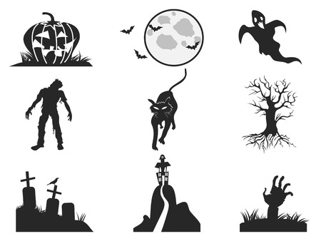isolated halloween icons set from white background Vector