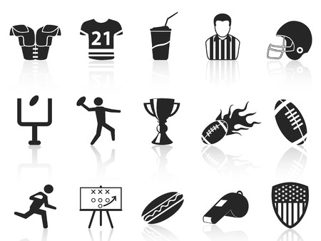 isolated American football icons set from white background Vector