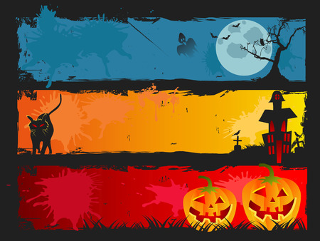 the background of halloween banner set for halloween design