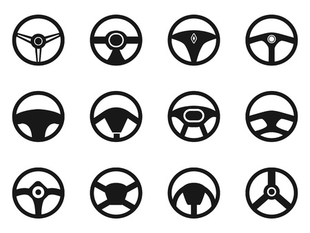 steering: isolated steering wheel icons set from white background
